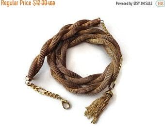 SALE Gold Tassle Belt Chain Rope Vintage 70s 80s M L