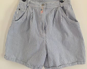 Vintage Blue and White Striped High Waisted Denim Shorts by Together M
