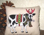 Christmas Cow Embroidered Pillow