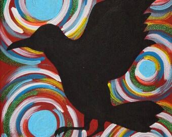 Black Raven Painting, Black Raven Art, 8x10 Inch Painting, Acrylic Painting, Bird Painting, Animal Artwork, Black Bird Art, Swirly Painting