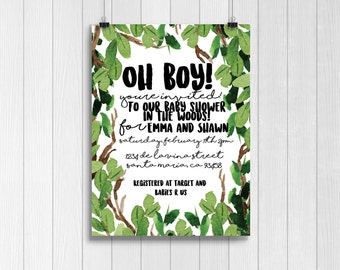 jungle baby shower invitation | woodsy baby shower invitation | green baby shower invitation | Oh boy! | Baby shower invitation