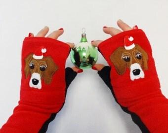 Santa Hat Dog Gloves Customization