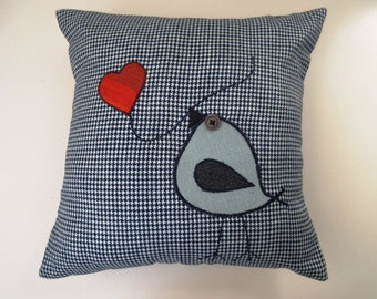 Blue and White Appliqued Bird Pillow CT10 CT11