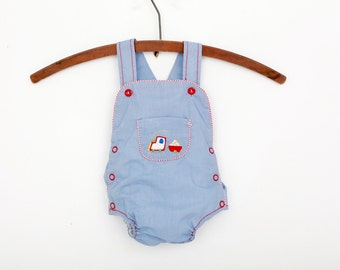 Vintage Sun Suit Romper in Blue with Train / Newborn