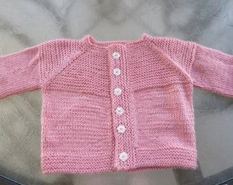 Hand knit dark peach little girl cardigan