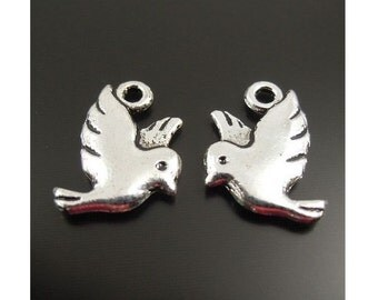 8 Lovely Small Bird Charms Birds in Flight Double Sided Silver Tone 14x12mm Note Size