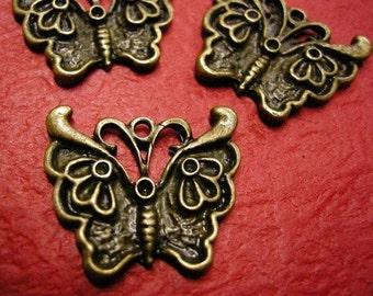 4pc antique bronze metal butterfly pendant-3542