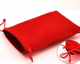 6 red 15x10cm velvet small gift bag pouches-7830R