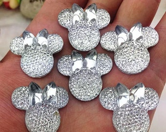 6pcs Clear 28mm Flat Back Mouse Head & Bow Resin Rhinestones Gems - DIY Craft Embellishments by MajorCrafts