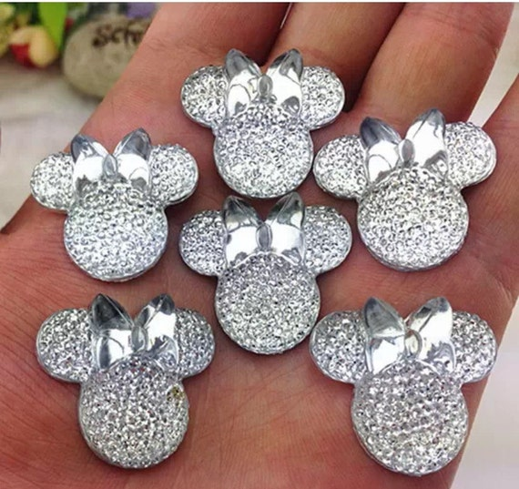 6pcs Clear 28mm Flat Back Mouse Head & Bow Resin Rhinestones Gems - DIY Craft Embellishments by MajorCrafts