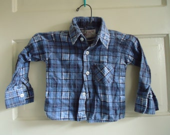 Vintage 70s Toddlers Flannel Shirt sz 1-2 years