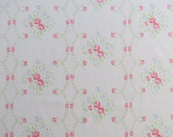 Half Yard of Vintage Sheet Fabric - Pink and Blue Tiny Floral