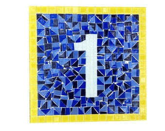 House Number Plaque, Blue and Yellow Glass Address Sign