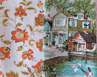Vintage Linen Tea Towels 2 Towels