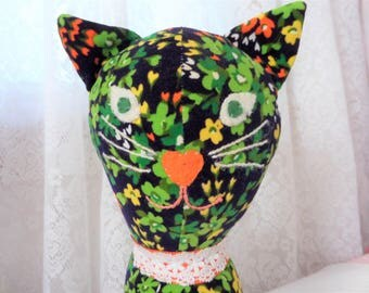 Vintage Mod Stuffed Cat Handmade Velveteen Floral