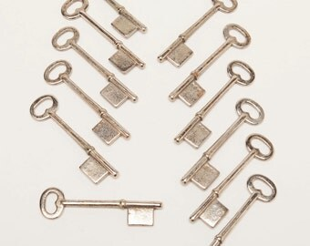 Vintage Skeleton Keys - Set of 12 - Blanks that were never cut - from an old locksmith estate.