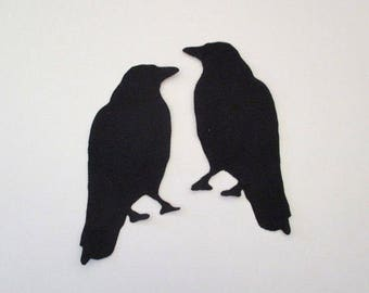 2 Raven Iron On Appliques Patches
