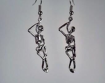 Hung Skeleton earrings, Skeleton Earrings, Goth Earrings, Halloween Earrings, Creepy Earrings, dangle earrings