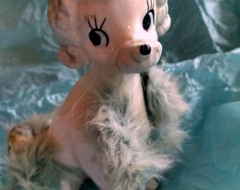 50s Ceramic  White Poodle Figurine