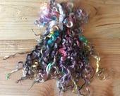 Teeswater Locks, Extra Long, Dyed, Tailspinning, 1 ounce, Doll Hair, Spin, Felt, Fleece, Tropical Storm