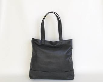 Black Leather Tote Bag with Original Textured Design and Outside Zip Pocket, Fashion Shoulder Purse for Women Yosy