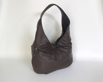 Dark Brown Leather Hobo Bag with Outside Pockets , Fashion Slouchy Purse , Trendy Shoulder Handbags, Alicia