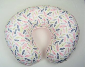 Boppy Cover, Nursing Pillow - Pink Feathers