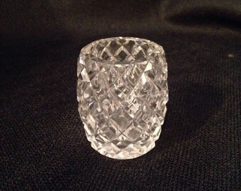 Cut Glass Toothpick Holder, Small Table Vase, Cut Glass Collectable
