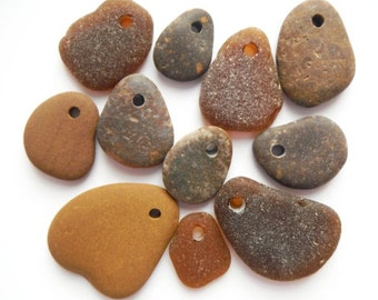 Browns Mix - Beach Pebbles and Sea Glass - Top Drilled - Set of 11 Beads