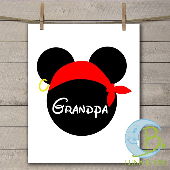 INSTANT DOWNLOAD Disney Family Vacation Cruise Pirate Night Grandpa Shirts Printable DIY Iron On to Tee T-Shirt Transfer - Digital File