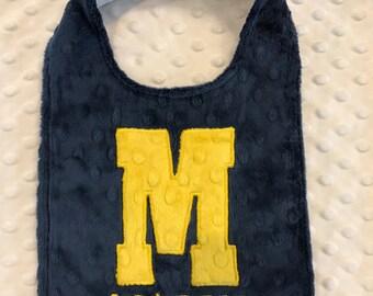 Initial Bib/michigan bib/michigan/michigan football bib/michigan football/maize and blue bib/maize and blue/boys football bib/football