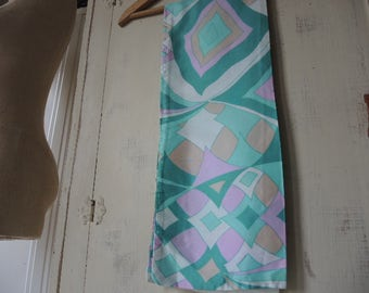 vintage 1960s acetate scarf mod era abstract greens and purple 8 x 44 inches