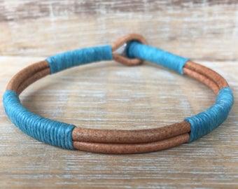Mens Leather Bracelet, Surfer Bracelet, Stainless Steel Bracelet, Unisex Bracelet, Blue Bracelet, Stacking Bangle, Son Gift, Gift for Him