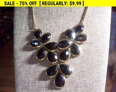 Black Beaded bib necklace, vintage necklace, estate jewelry