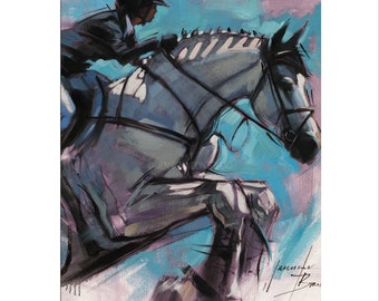 Horse Art - Matted Print of Original Oil Painting - Horses, Equine, Equestrian, Jumper, Riding, Rider, Animal Lovers, Water, Dramatic Art