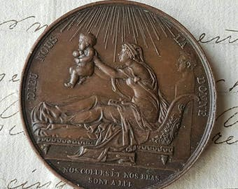 Stunning Antique French Bronze  Medal / Medallion entitled Birth of the Comte de Chambord by French Engraver F.Gayrard c. 29 Septembre 1820