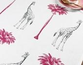 Tropical Giraffes Tea Towel
