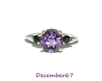 Amethyst Ring, Purple and Black Ring, Cocktail Ring, Anniversary Ring, Sterling Silver