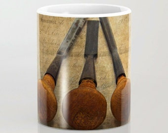 Vintage Chisels Ceramic Coffee Mug, Photo Mug, Still Life Photography, Coffee Mug,