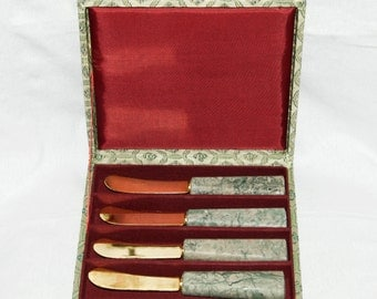 Vintage butter spreaders with stone handles in original box...boxed set...Asian box.