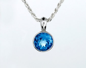 Swiss blue topaz bezel necklace made from 925 Sterling silver, topaz pendant, simple, blue necklace, silver pedant, unique, something blue