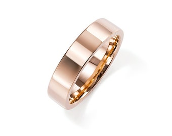 5.00mm wide rose gold wedding band, men's wedding ring, unique, simple, wide rose gold band, white gold, red gold band, man engagement