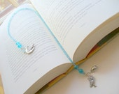 Blue Beaded Bookmark, Book Thong, Owl Bookmark, Moon Bookmark, Angel Bookmark, Book Lover, Book Jewelry, Book Accessories, Gift for Her