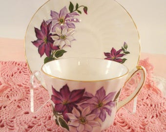 Vintage Teacup Purple Clematis Royal Kendall English Bone China Purple Floral Teacup and Saucer Cottage Garden Teacup Tea Party