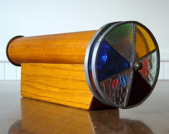 Vintage Kaleidoscope Wood Brass Stained Glass Double Wheel