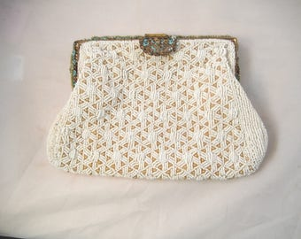 French Micro beaded Clutch Purse, White Glass Beads and Pearls