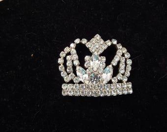 Sparkling Rhinestone Brooch, Crown Design, Unsigned, Silver Tone Metal