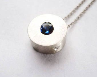 Ceylon Sapphire Bauhaus Diamond 12.0 mm Silver Necklace