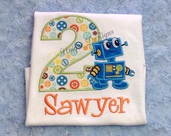Appliqué Robot Shirt, Boys Birthday Shirt, Robot Birthday Shirt, Boy Tops, Boys Appliqué Shirt, Personalized, Monogram
