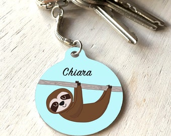 Personalised Sloth Keychain